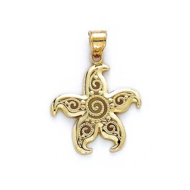 Jewelryweb 14k Filigree Starfish Pendant