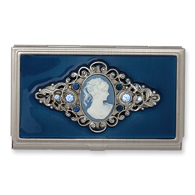 Jewelryweb Steel Blue Enameled and Cameo Pendant Business Card Holder at Sears.com