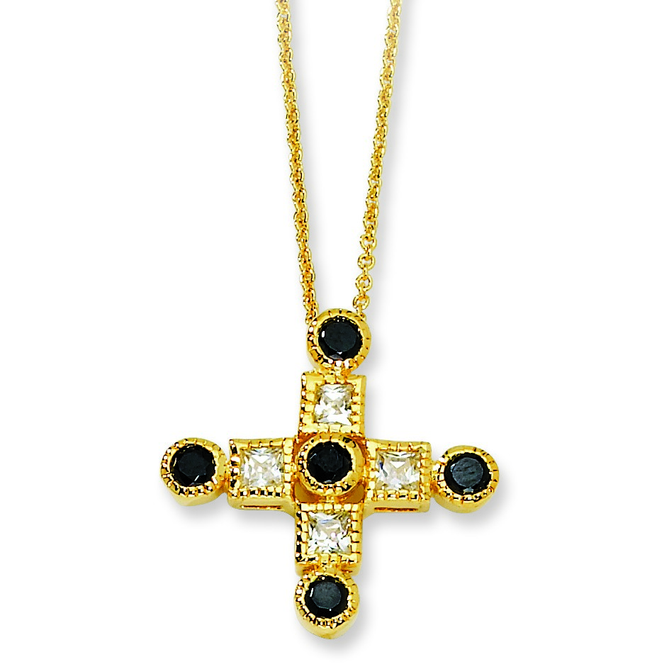 Jewelryweb Gold-plated Sterling Silver Black and White CZ Cross Necklace - 18 Inch at Sears.com