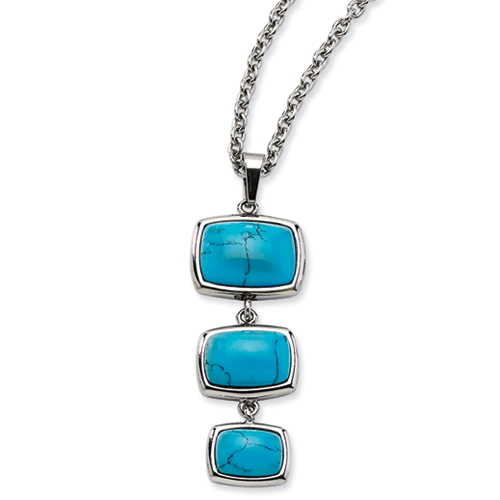 Jewelryweb Stainless Steel Created Turquoise Dangles Pendant Necklace - 18 Inch at Sears.com