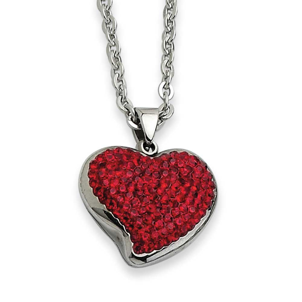 Jewelryweb Stainless Steel Red Crystal Heart Pendant Necklace - 22 Inch at Sears.com