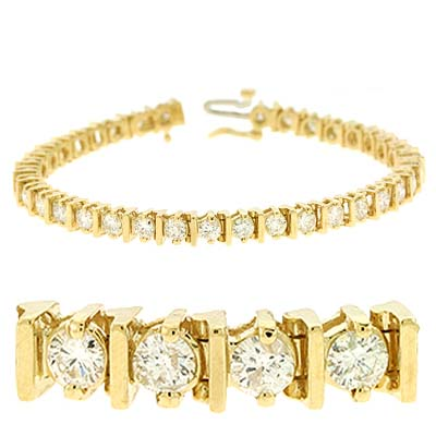 14k Yellow Bar Design Tennis 5 Ct Diamond Bracelet