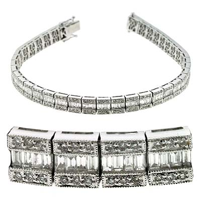 14k White 4.25 Ct Diamond Bracelet