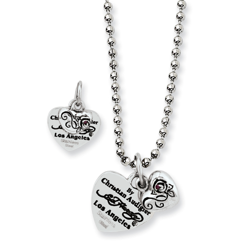 Jewelryweb Ed Hardy Stainless Steel Heart and Small Rose With Red CZ Necklace at Sears.com