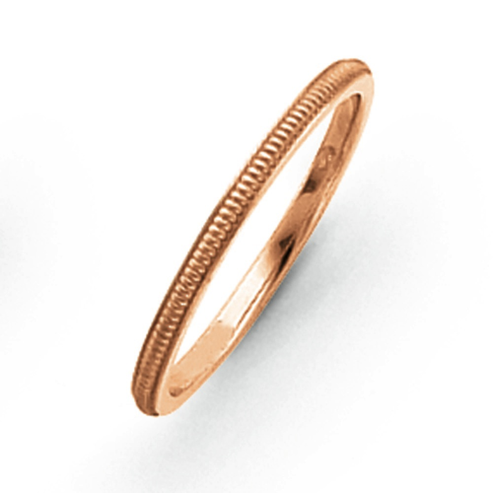 Jewelryweb 14k Rose-Gold 1.5mm Milgrain Band Ring - Size 5.5 at Sears.com