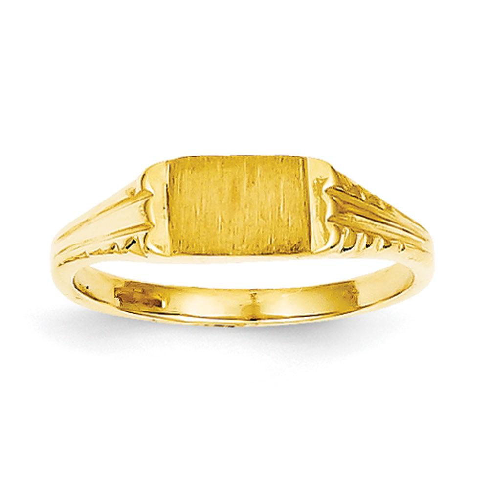 Jewelryweb 14k Childs Diamond-Cut Signet Ring - Size 3 at Sears.com