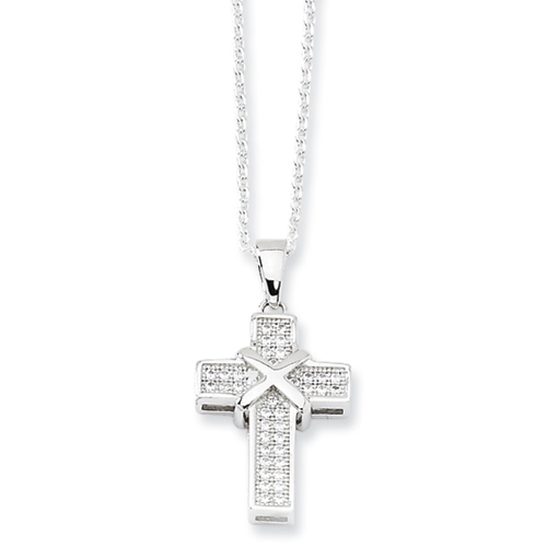 Jewelryweb Sterling Silver and CZ Polished Cross Necklace - 18 Inch at Sears.com