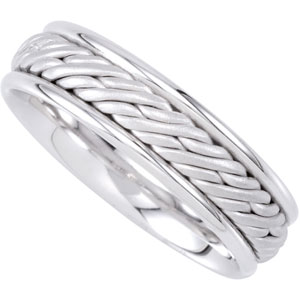 Jewelryweb 14k White Gold Bridal Engagement Ring Duo 6.5mm Hand Woven Comfort Fit Band - Size 5.5 at Sears.com