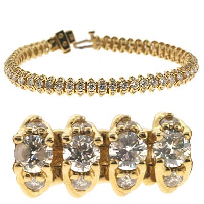 14k Yellow Tennis 6.21 Ct Diamond Bracelet