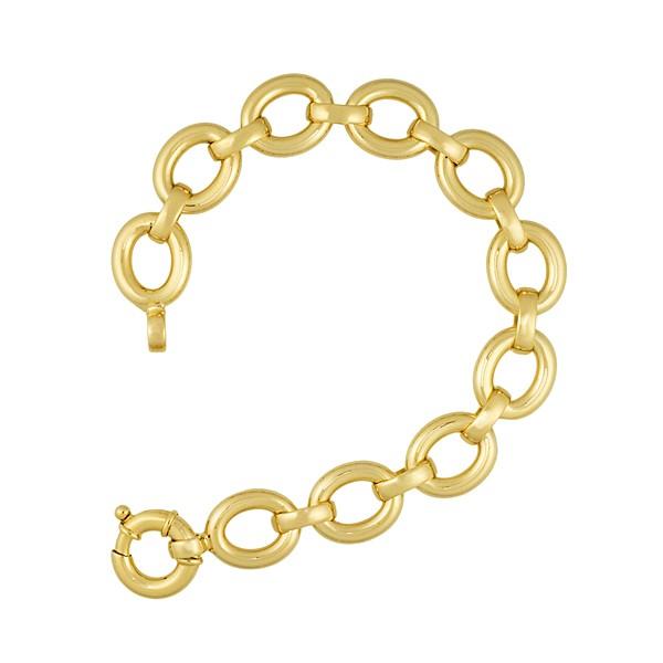 Jewelryweb 14k Yellow Gold Oval Links 14.5mm Bracelet