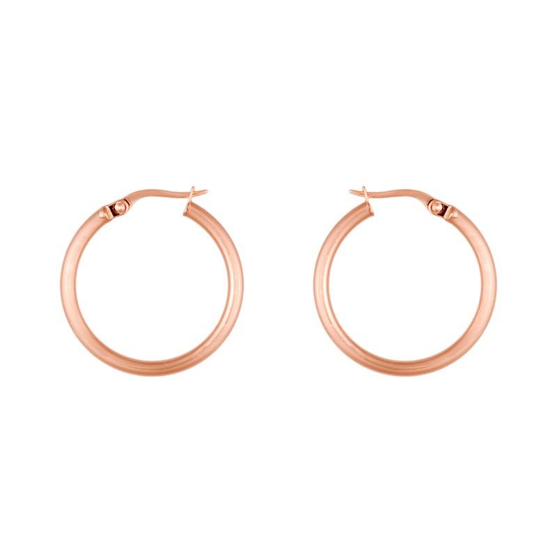 Jewelryweb 18k Pink Earrings Hoop Medium Hoop High Polish Tube at Sears.com