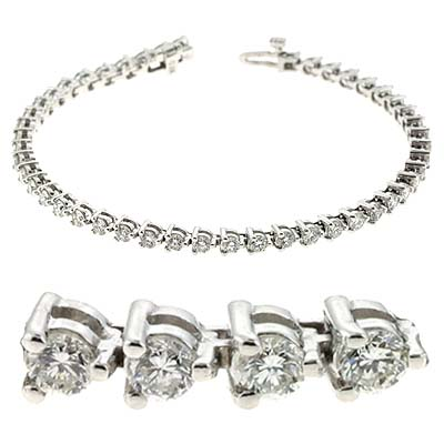 14k White Three Prong Tennis 6 Ct Diamond Bracelet