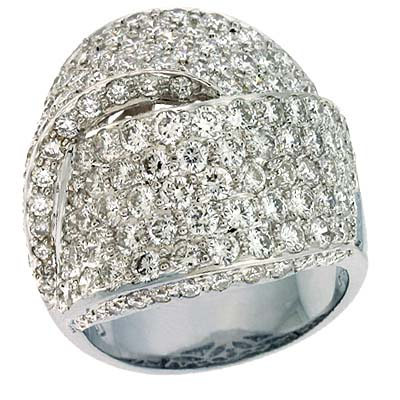 14k White Trendy 5.02 Ct Diamond Ring