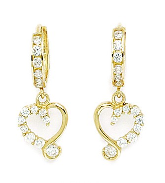 Jewelryweb 14k Yellow Gold CZ Heart Drop Hinged Earrings - Measures 24x9mm at Sears.com