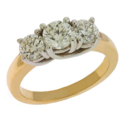 14k Two-Tone 3 Stone 1.71 Ct Diamond Ring