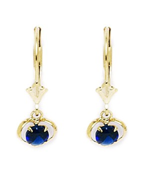 Jewelryweb 14k Yellow Gold September Birthstone Sapphire 4x3mm CZ Heart Leverback Earrings - Measures 22x7mm at Sears.com