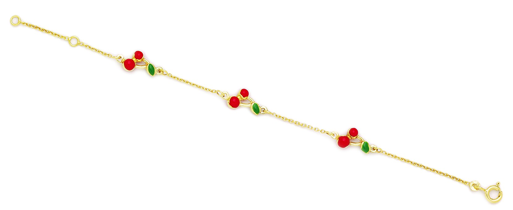 Jewelryweb 14k Yellow Gold 5.75 Inch Adjustable Three Cherries Enamel Baby Id Bracelet - Measures 7mm at Sears.com