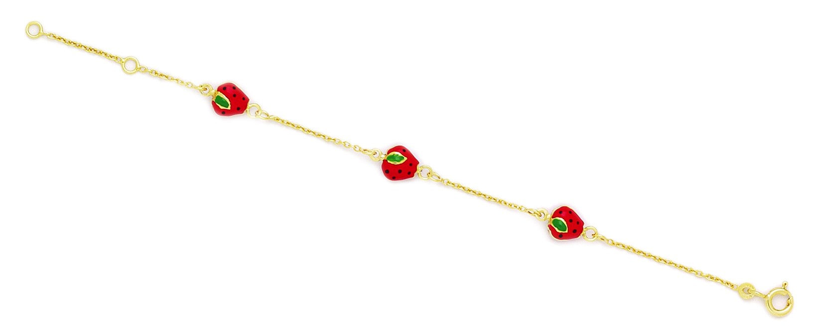 Jewelryweb 14k Yellow Gold 5.75 Inch Adjustable Three Strawberries Enamel Baby Id Bracelet - Measures 7mm at Sears.com