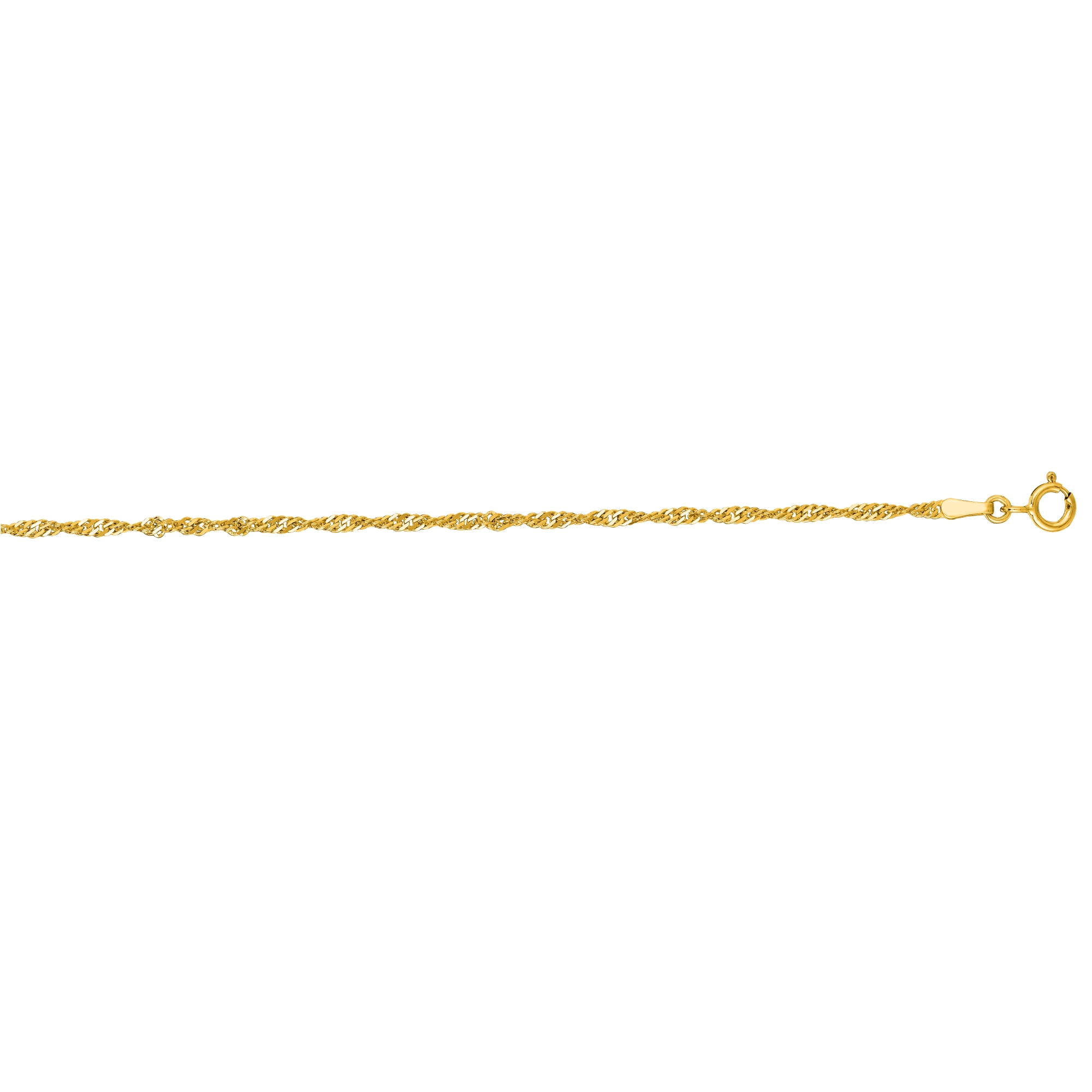 Jewelryweb 14k 7 Inch 1.7mm Yellow Gold Singapore Chain Bracelet at Sears.com