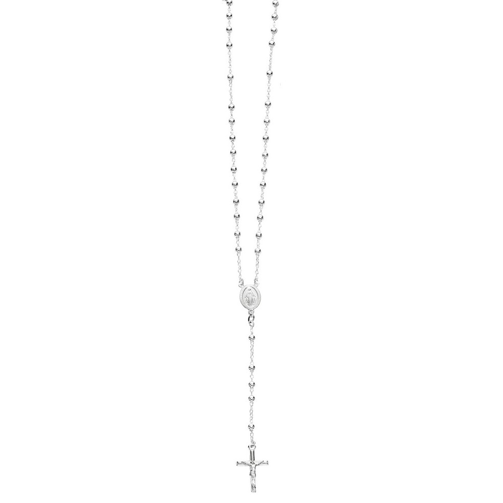 Jewelryweb Sterling Silver 4mm Rhodium Plated Polished Rosary Necklace - 26 Inch