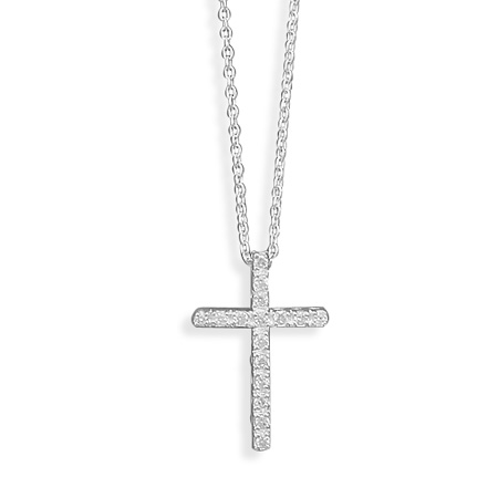Jewelryweb Sterling Silver 16 Inch CZ Cross Necklace 1mm Wide Chain Lobster Clasp 22x15mm Cz Cross - 1.8mm Czs at Sears.com