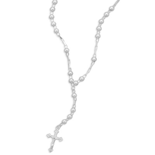 Jewelryweb 16 Inch Sterling Silver Rosary Necklace