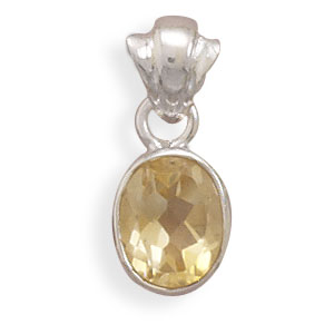 Jewelryweb Faceted 10.5mmx8.5mm Citrine Pendant With Polished Sterling Silver Fancy Bale Charm at Sears.com