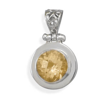 Jewelryweb Sterling Silver Faceted Citrine Pendant With Ornate Hinged Bale Charm at Sears.com