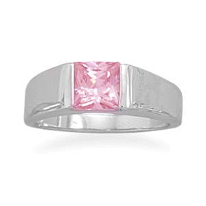 Jewelryweb Rhodium Plated 6mm Square Pink CZ Ring 2.2mm Wide Polished Band With 6mm Square Pink Cz - Size 8 at Sears.com