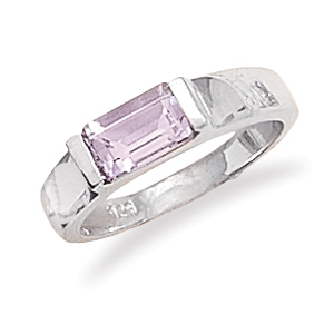 Jewelryweb Emerald Cut Amethyst Ring 5mm Polished Sterling Silver Band 6mm X 4mm Emerald Cut Amethyst- - Size 8 at Sears.com