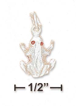 Sterling Silver Red Eyed High Polish Frog Charm Hollow Back