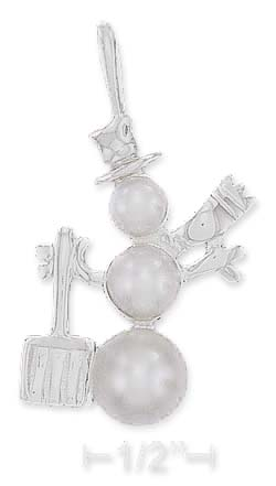 Sterling Silver High Polish 29mm Triple Pearl Snowman Charm