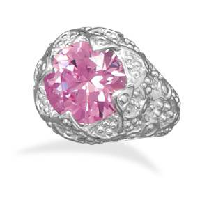 Jewelryweb Pink CZ Fashion Ring With Swirl Design Band Silver Plated Nickel Free And Lead Free - Size 8 at Sears.com