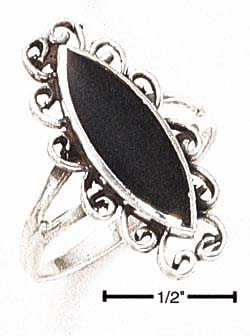 Jewelryweb Sterling Silver Elongated Black Onyx With Fancy Scroll Ring - Size 6.0