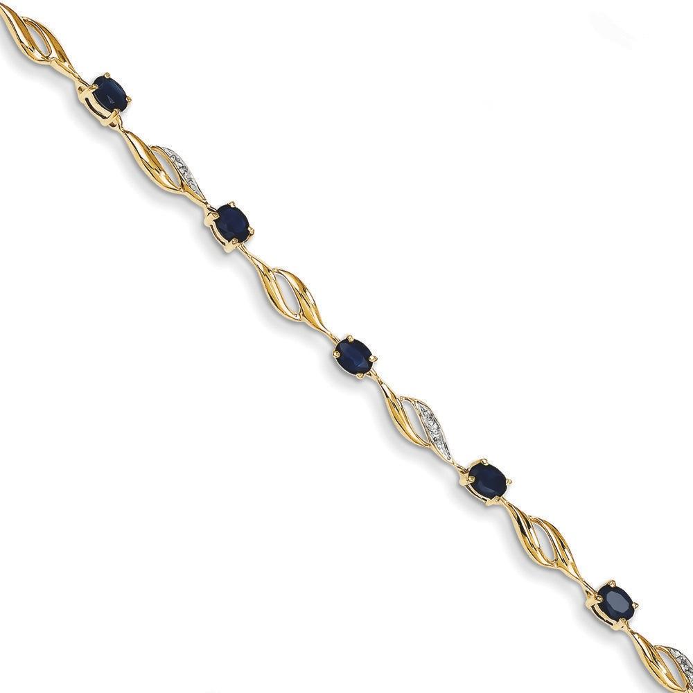 Jewelryweb 14k Gold Rough Diamond and Sapphire Oval Bracelet