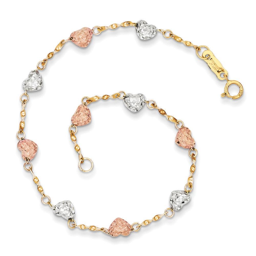 Jewelryweb 14k Tri-color Puff Heart Bracelet at Sears.com
