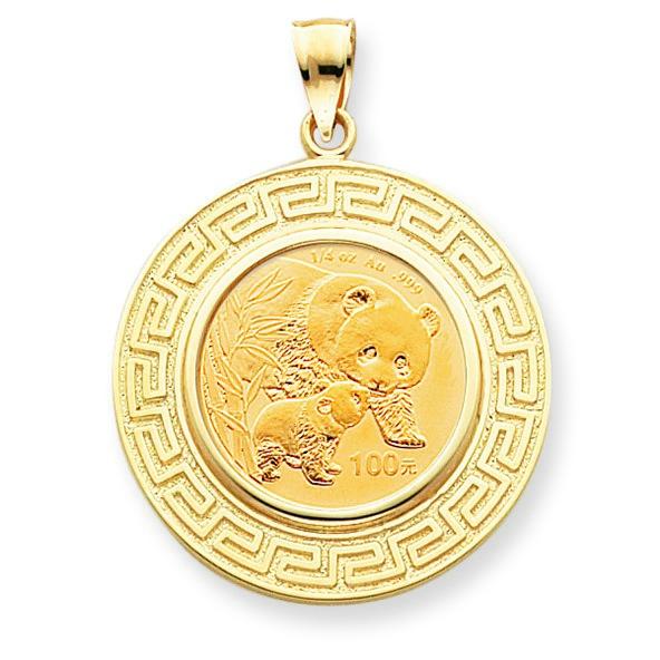 Jewelryweb 14k 1/4oz Mounted Panda Coin Greek Key Bezel Pendant