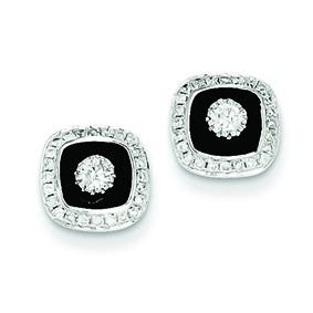 Jewelryweb 14k White Gold Diamond Square Black Rhodium-plated Post Earrings at Sears.com