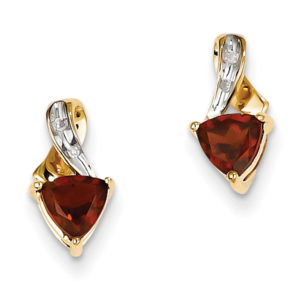 Jewelryweb 14k Rough Diamond and Garnet Heart Post Earrings at Sears.com