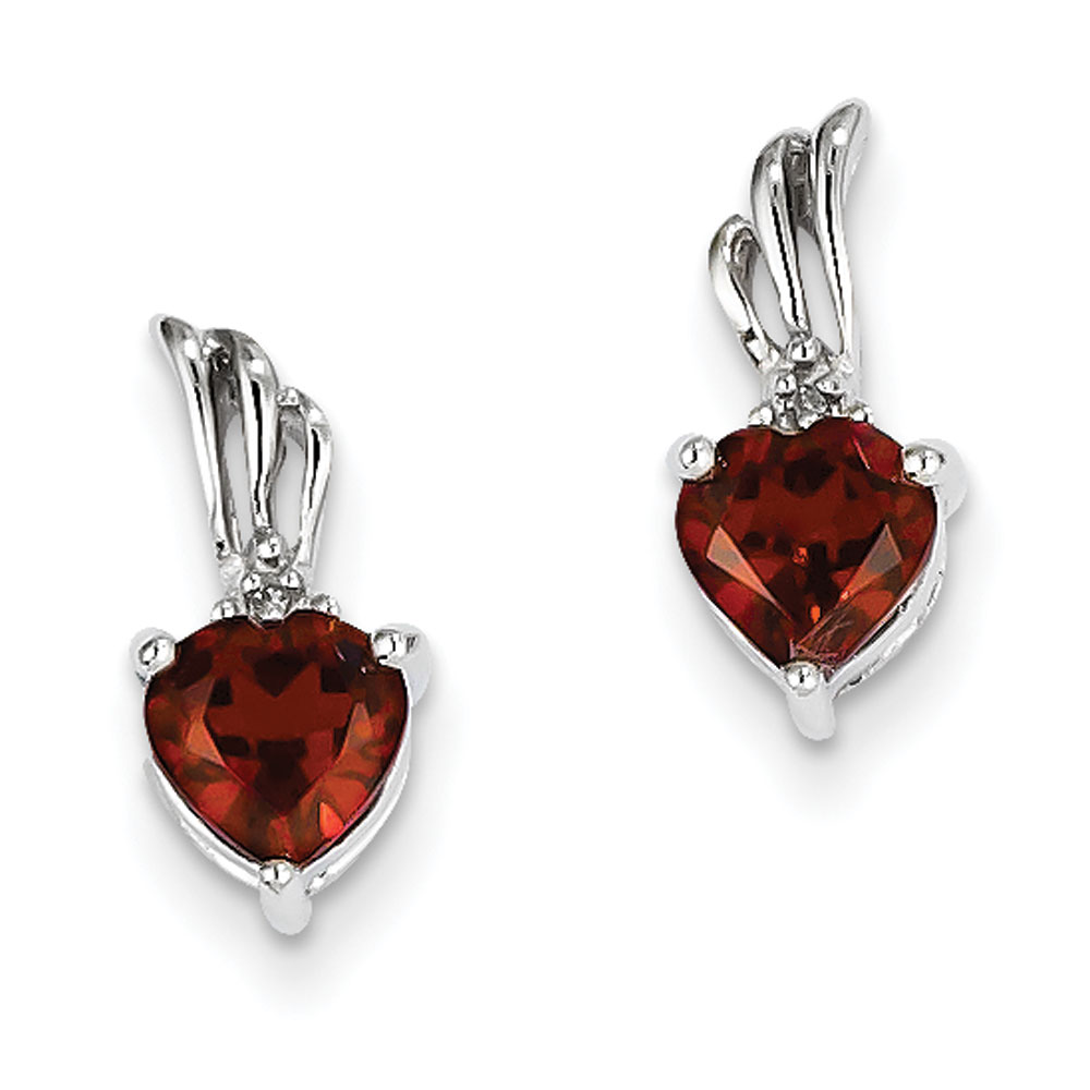 Jewelryweb 14k White Gold Rough Diamond and Garnet Heart Post Earrings at Sears.com