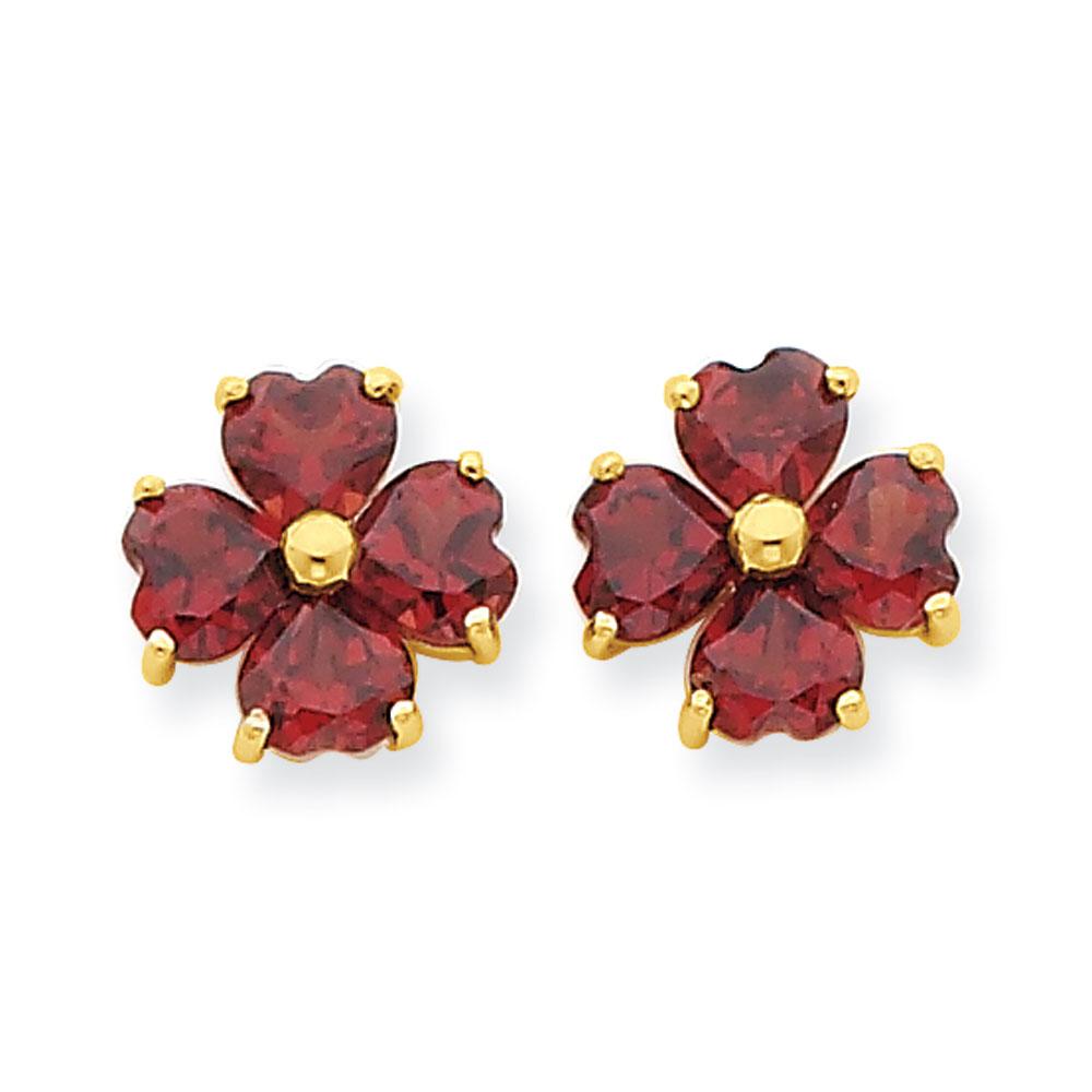 Jewelryweb 14k Heart-shaped Garnet Flower Post Earrings at Sears.com