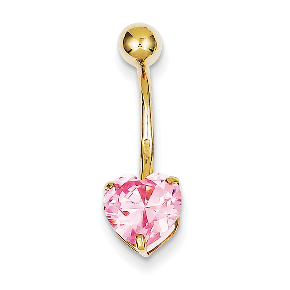 Jewelryweb 10k With 8mm Pink CZ Heart Belly Ring Dangle at Sears.com