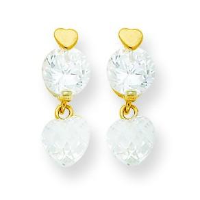 Jewelryweb 14k CZ Heart Dangle Post Earrings at Sears.com