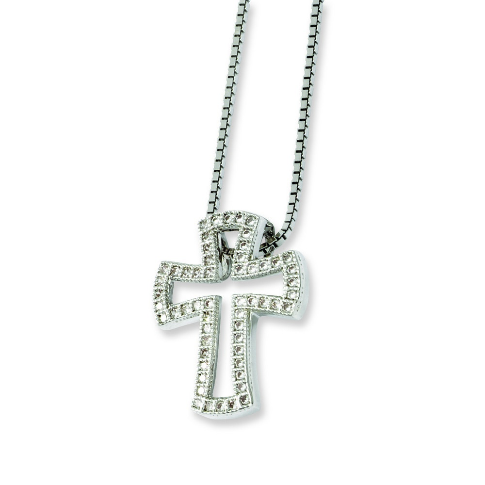 Jewelryweb Sterling Silver and CZ Brilliant Embers Cross Necklace - 18 Inch at Sears.com