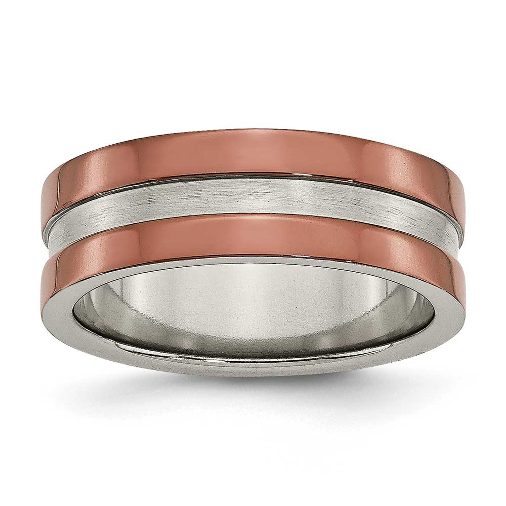 Jewelryweb Titanium Grooved 8mm Chocolate Plated Band Ring - Size 7.5 at Sears.com