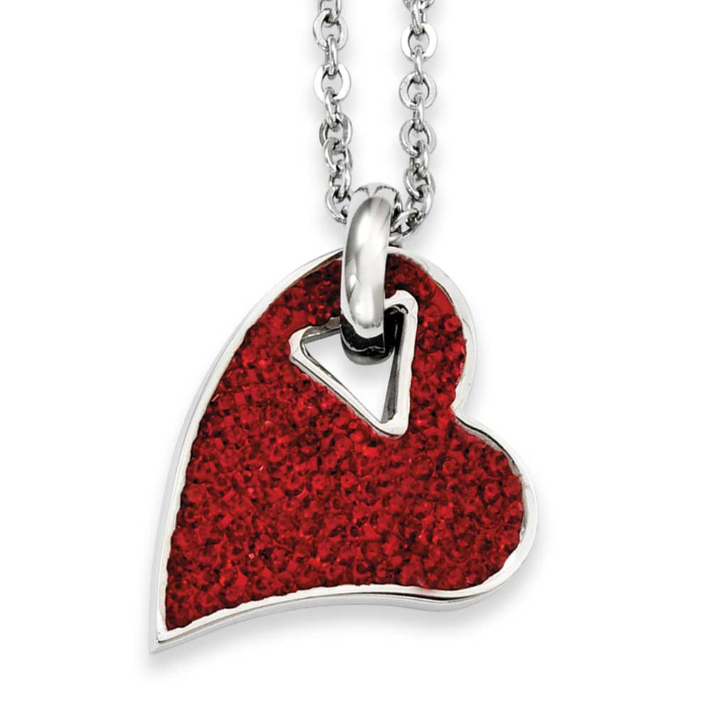 Jewelryweb Stainless Steel Red Crystal Heart Pendant 20inch Necklace - 20 Inch at Sears.com