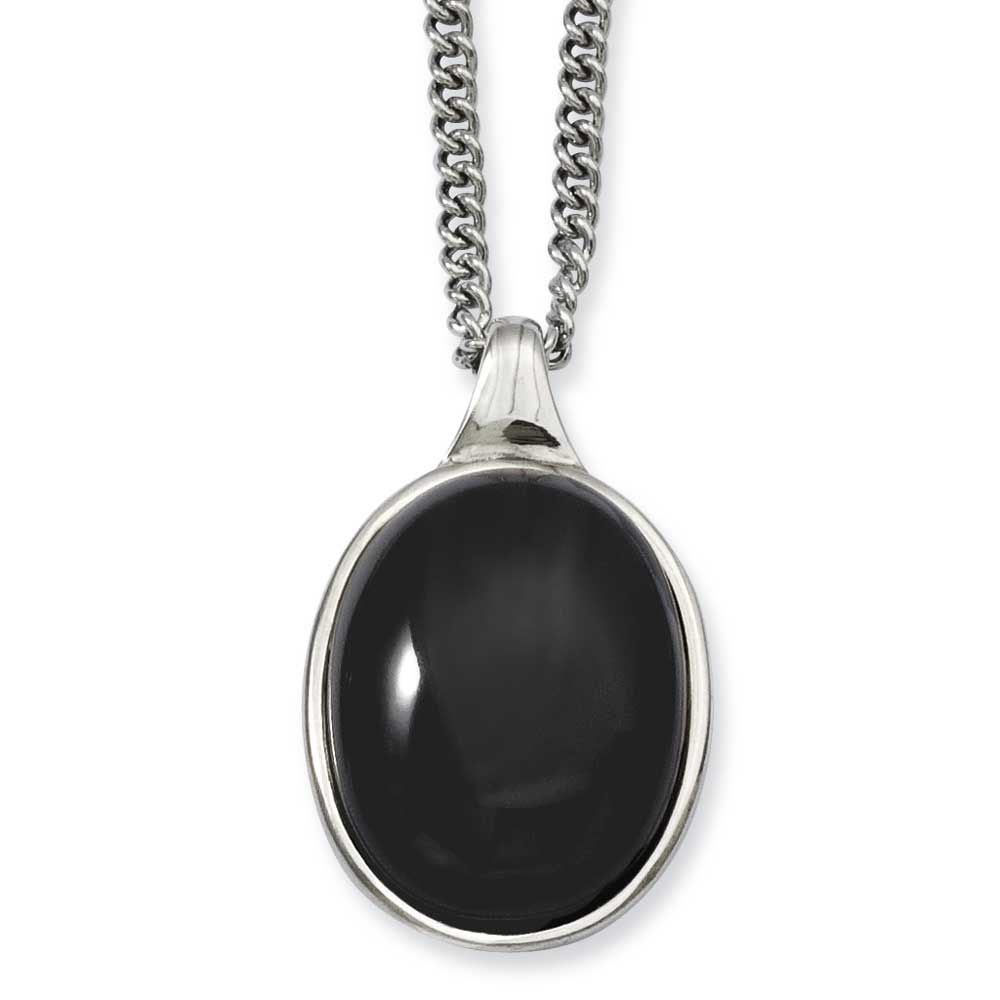 Jewelryweb Stainless Steel Black Agate Pendant 18inch Necklace - 18 Inch at Sears.com