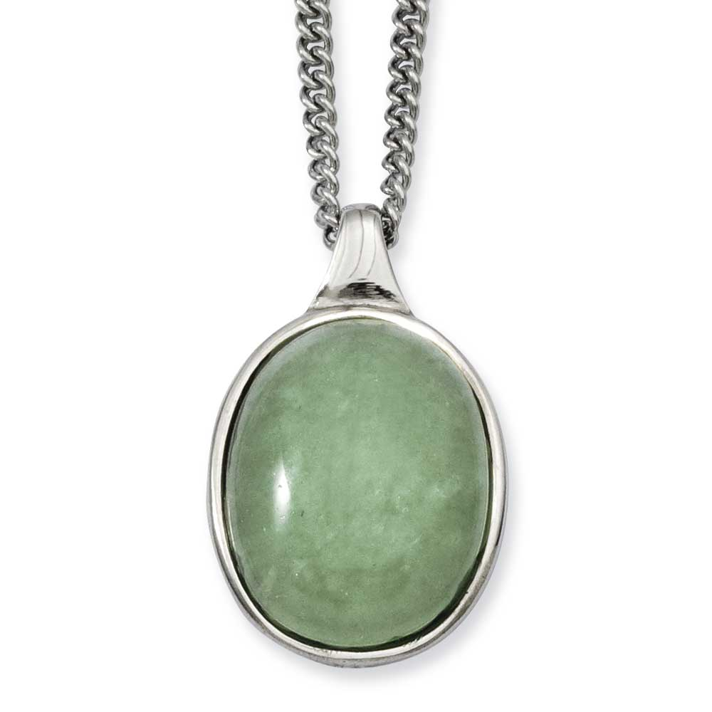 Jewelryweb Stainless Steel Green Aventurine Pendant 18inch Necklace - 18 Inch at Sears.com