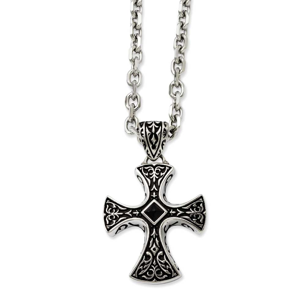 Jewelryweb Stainless Steel Black Agate and Antiqued Cross Pendant 24inch Necklace - 24 Inch at Sears.com