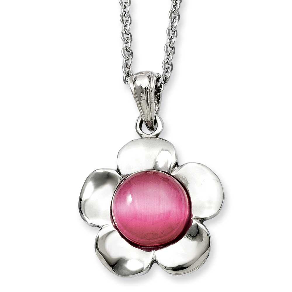Jewelryweb Stainless Steel Flower With Pink Cats Eye Pendant 18inch Necklace - 18 Inch at Sears.com